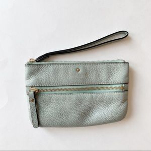 Kate Spade Cobble Hill Leather Bee Wristlet Blue